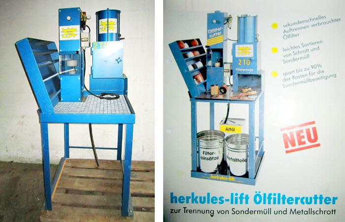 Herkules-lift OELCUT, 2 ton constante persdruk, oliefilter- en verfblikkenpers